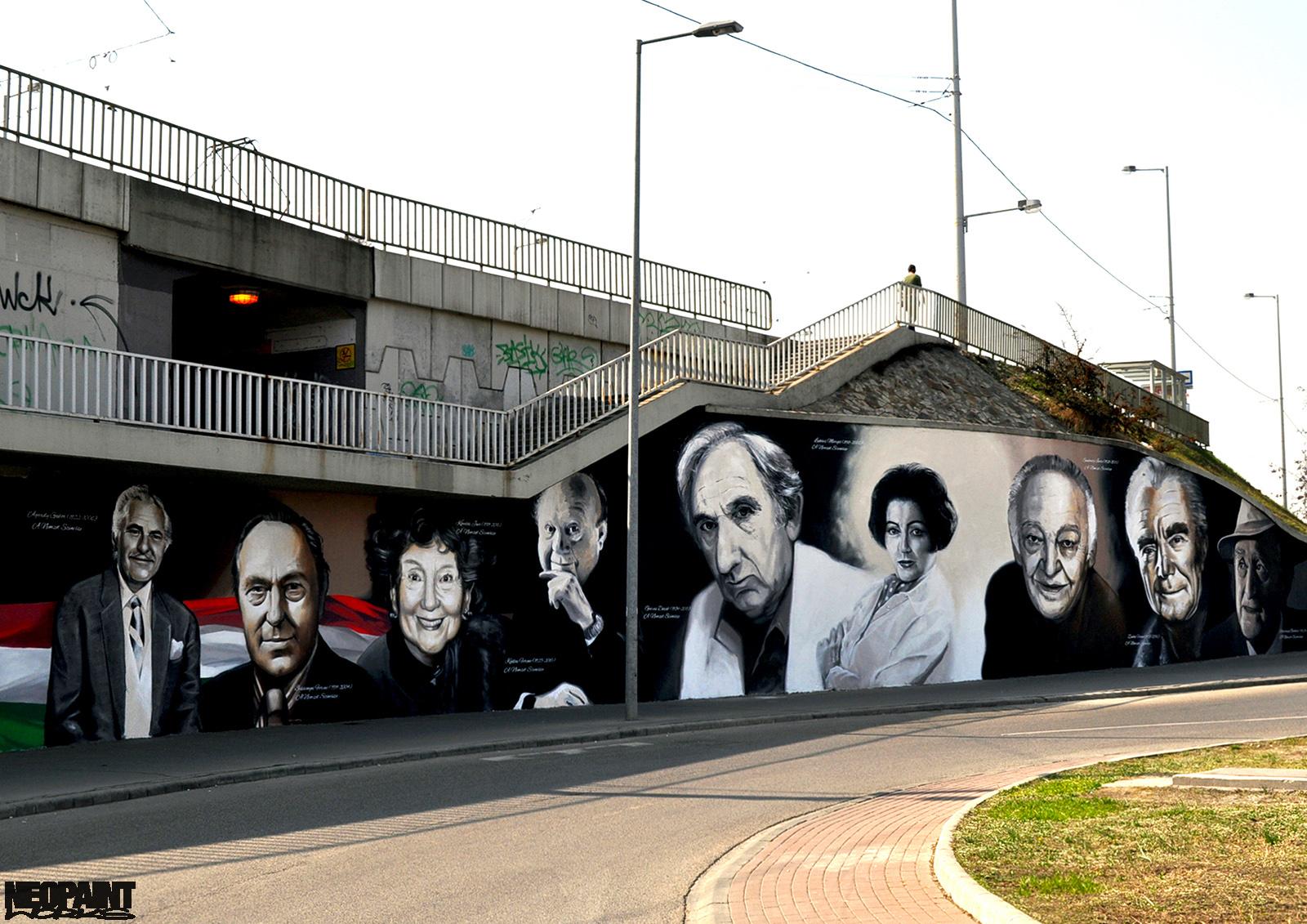 neopaint works - művészi falfestmény utcán - a nemzet színészei