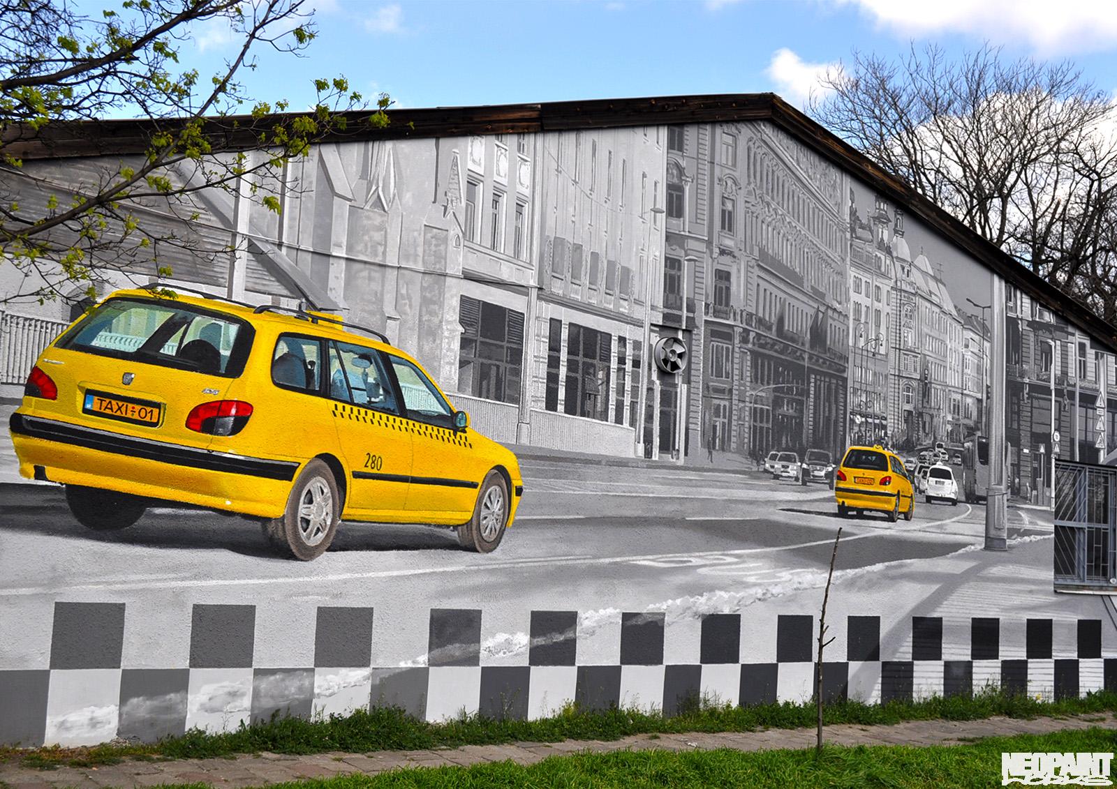 neopaint works - kültéri falfestmény - taxi