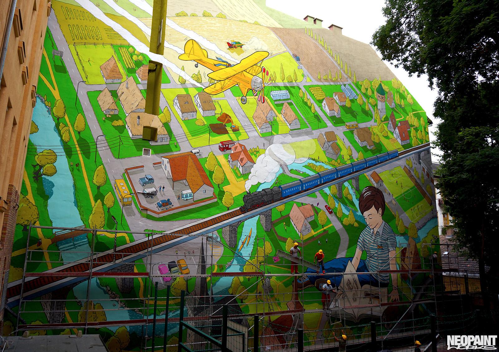 neopaint works - nagy méretű falfestmény - tűzfalfestmény - színes tűzfal