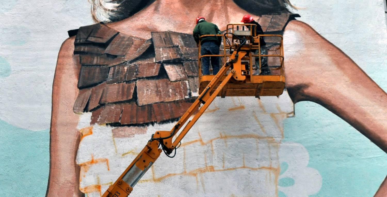 Gombold újra! tűzfalfestmény - Neopaint Works