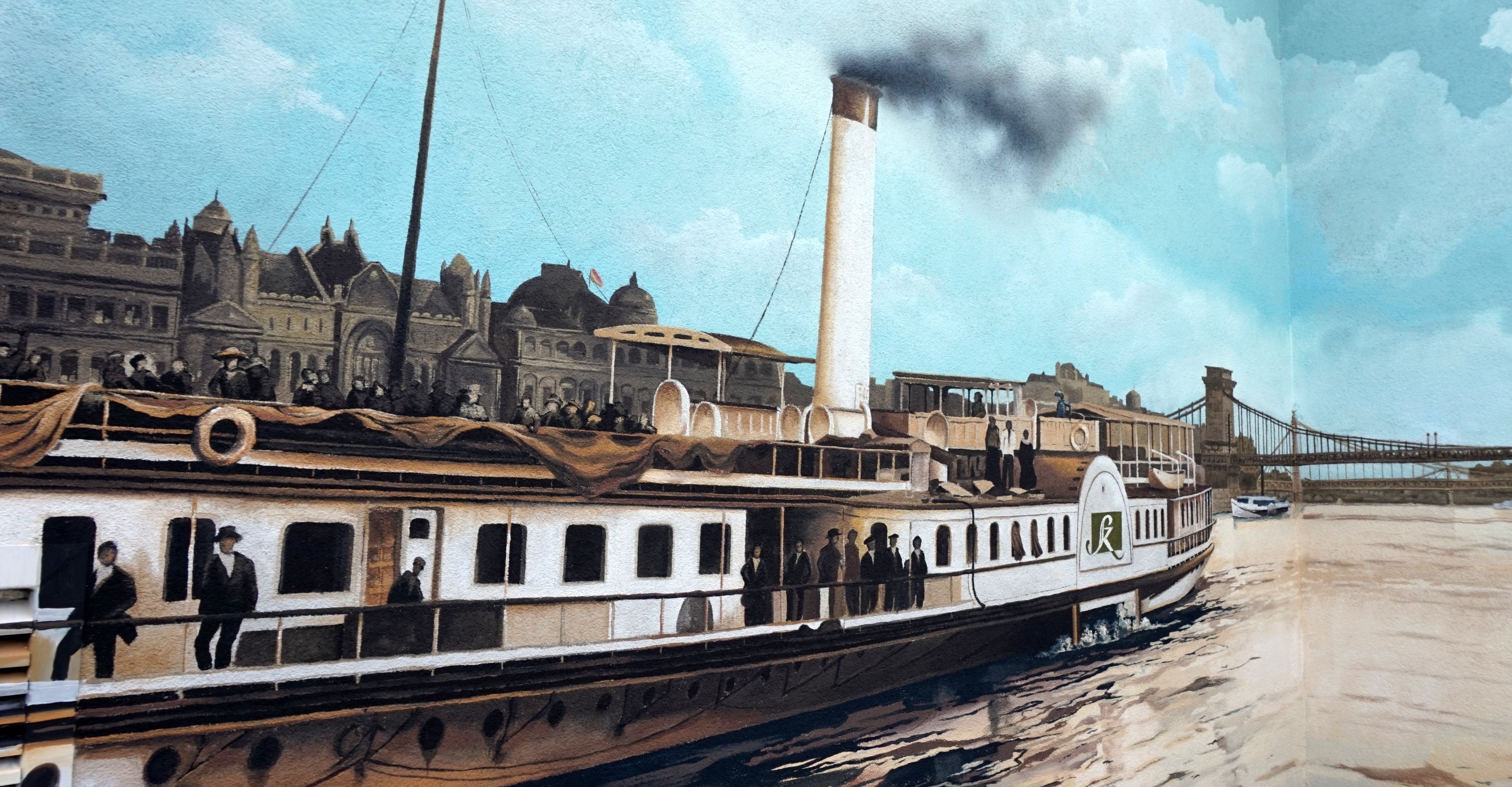 régi duna hajó falfestmény - neopaint works