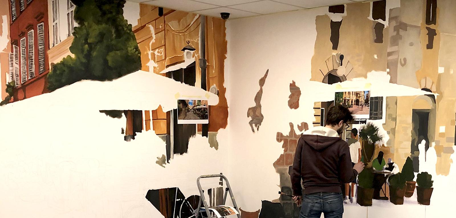 olasz kisváros falfestmény - neopaint works