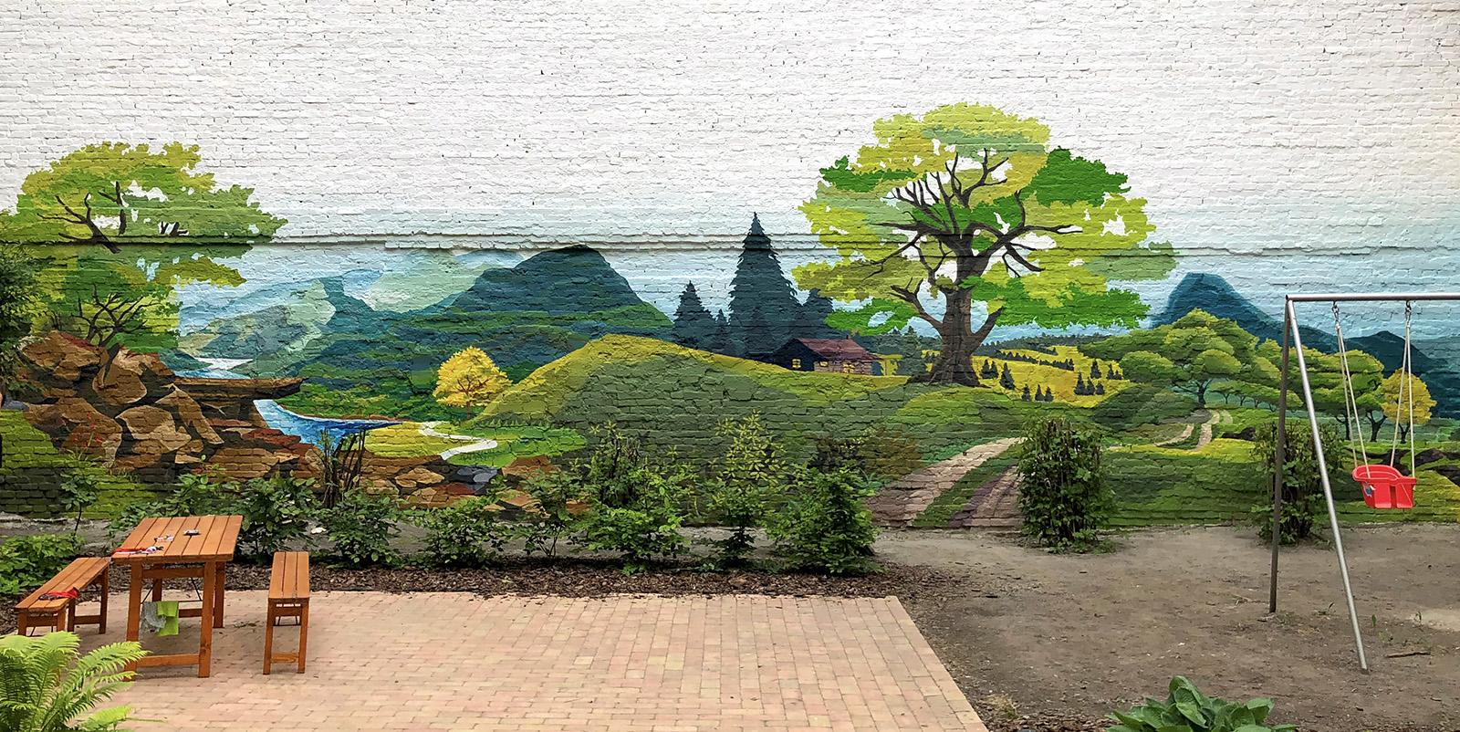 tájkép a gangon graffiti - neopaint works