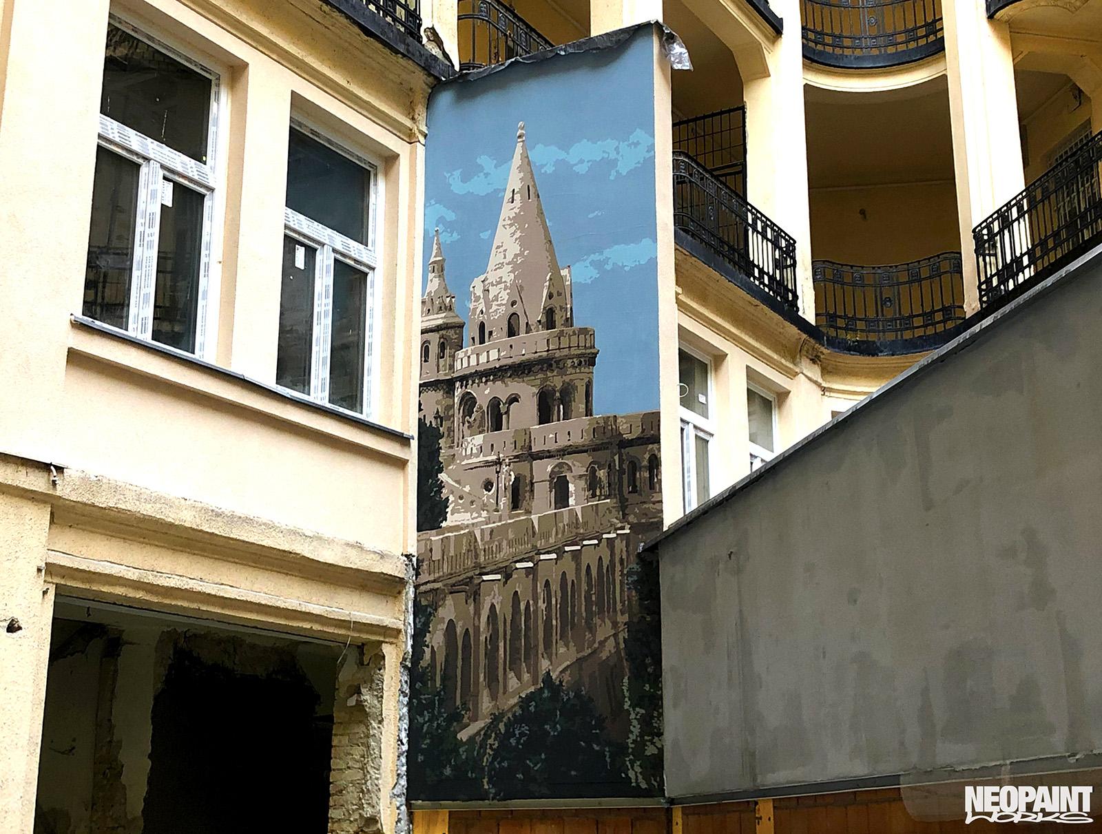 dekorációs falfestés - tűzfalfestés - kreatív festés - halaszbástya - neopaint works (1)