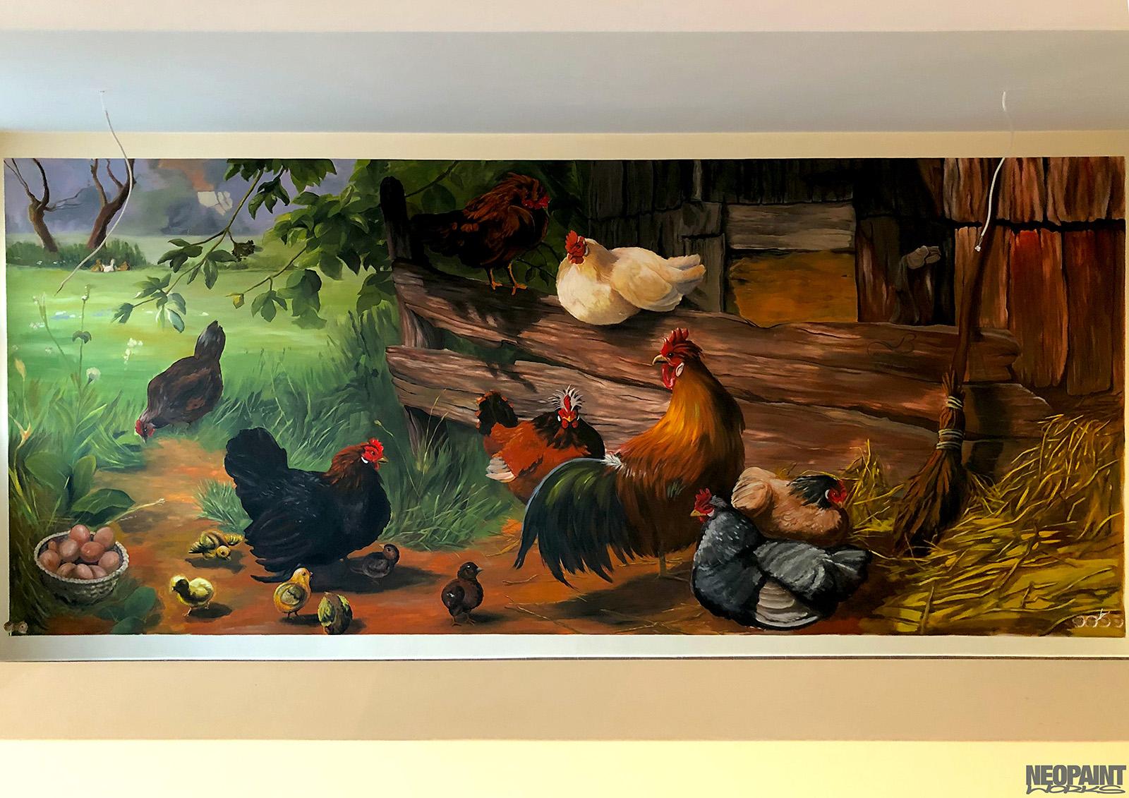 beltéri falfestmény - falfestő - freskó - tanya - csirke - neopaint works