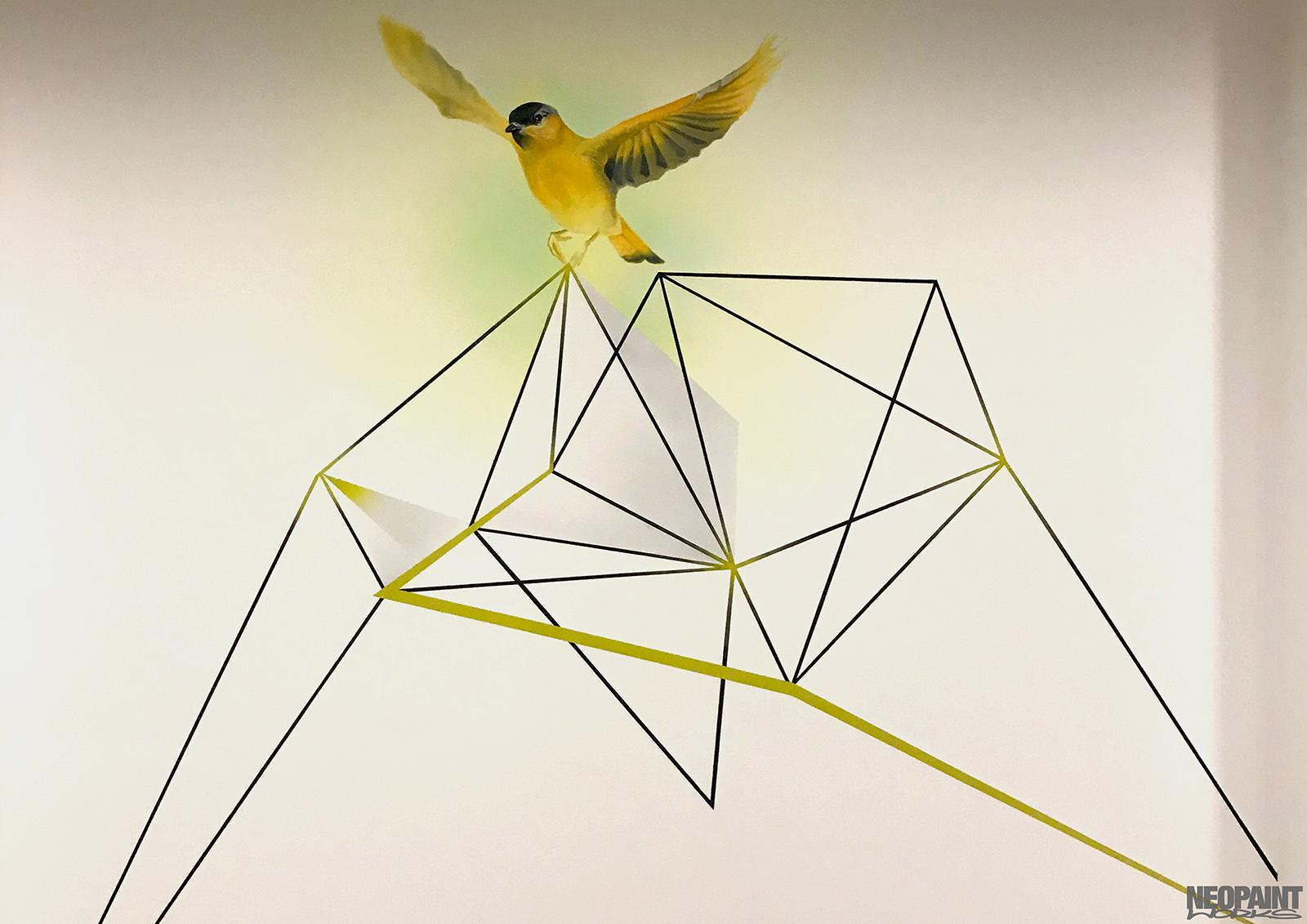 dekorációs falfestés - díszítő festés - neopaint works - madár