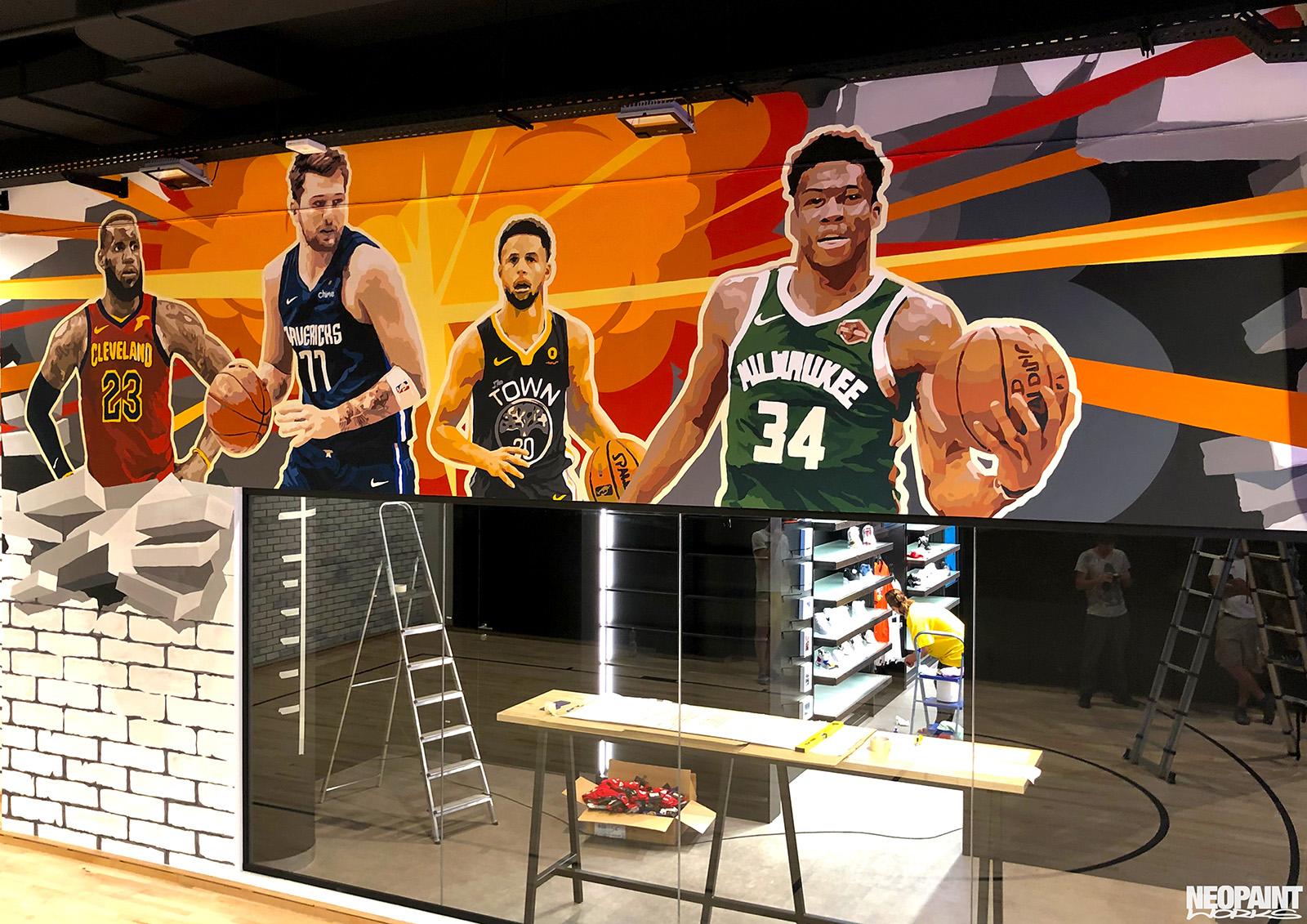 festett faldekoráció - NBA - kosárlabda - freskó - graffiti - neopaint works