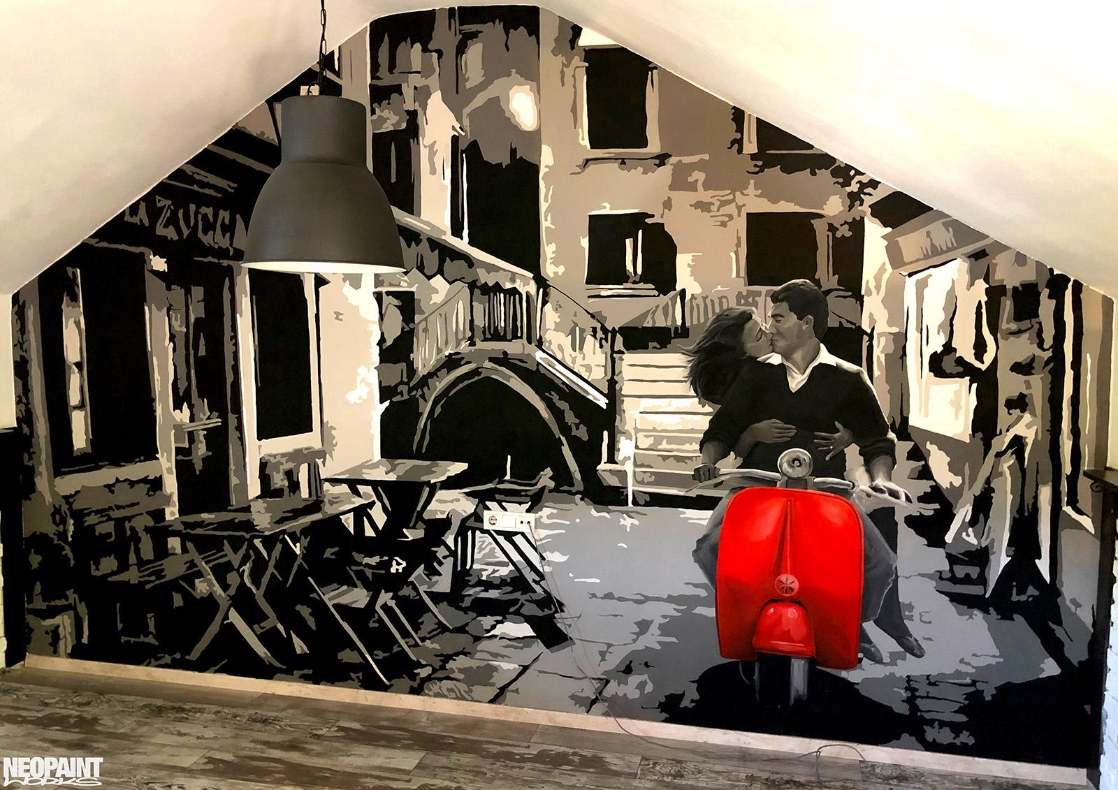 festett faldekoráció - graffiti - faldekor - neopaint works