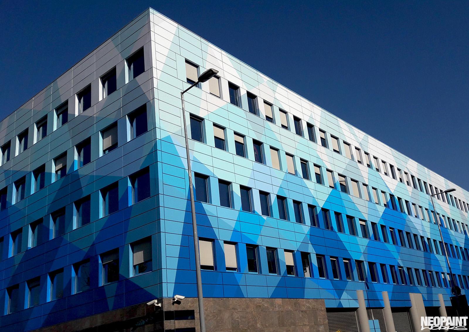 neopaint works - épület díszítőfestés - blue cube