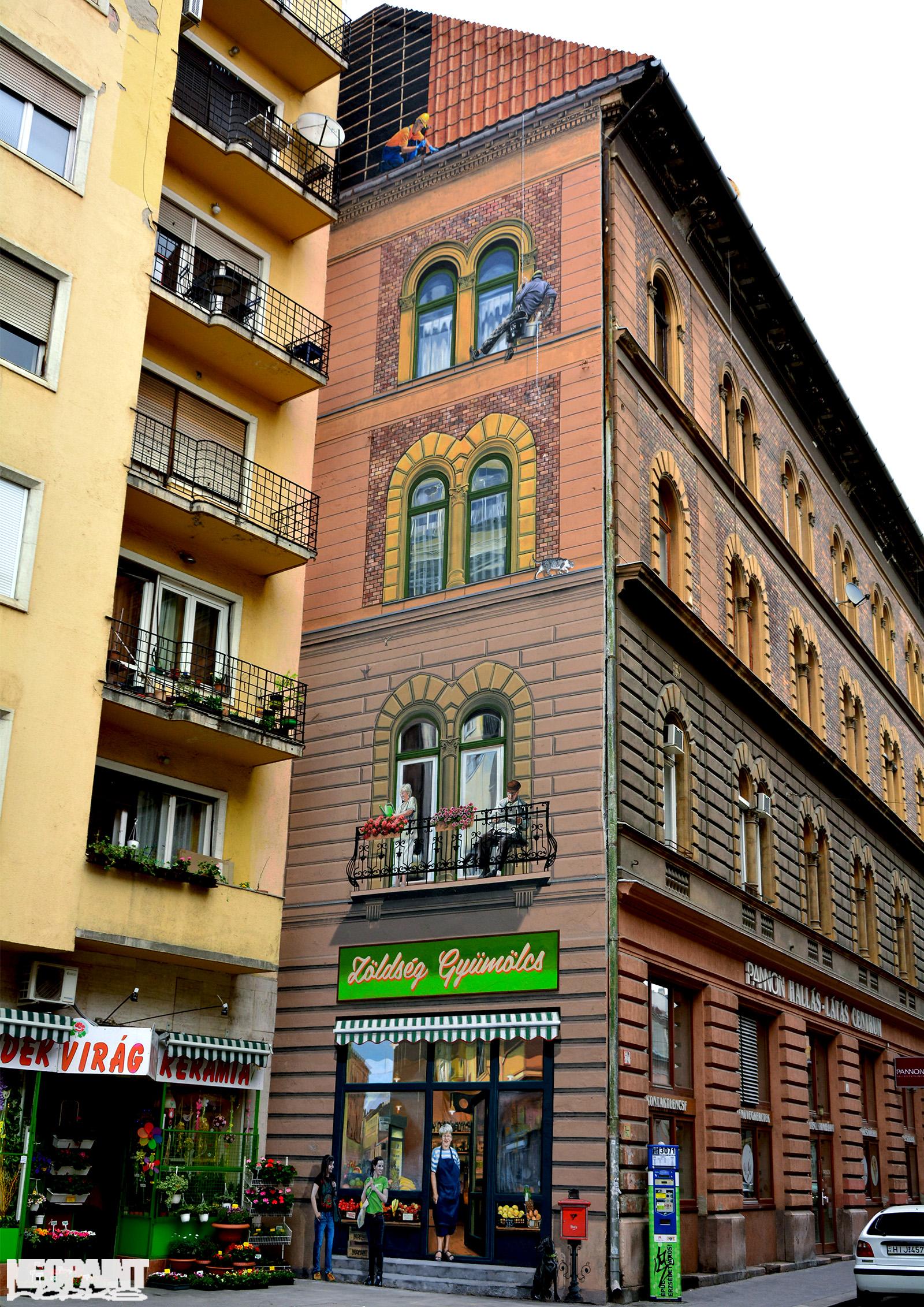 neopaint works - épület dekorációs falfestés - zöldséges