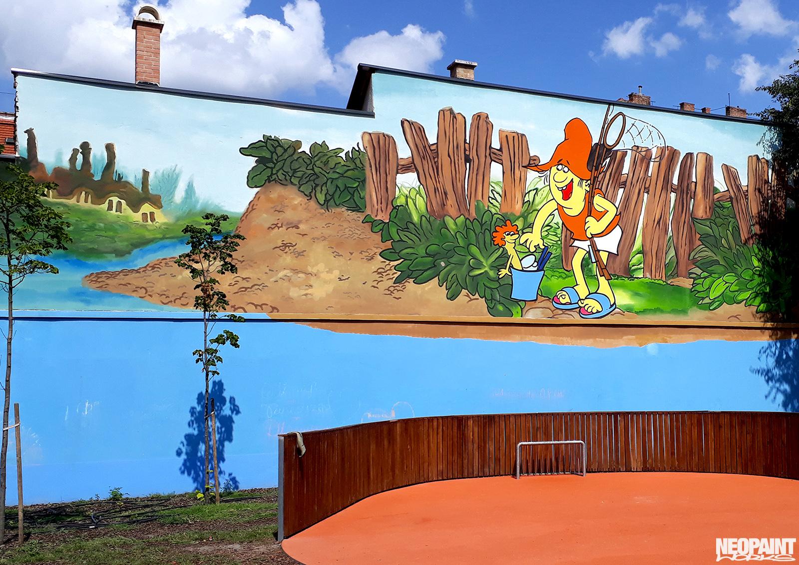 Neopaint Works - a nagy ho ho horgasz - utcai falfestmény