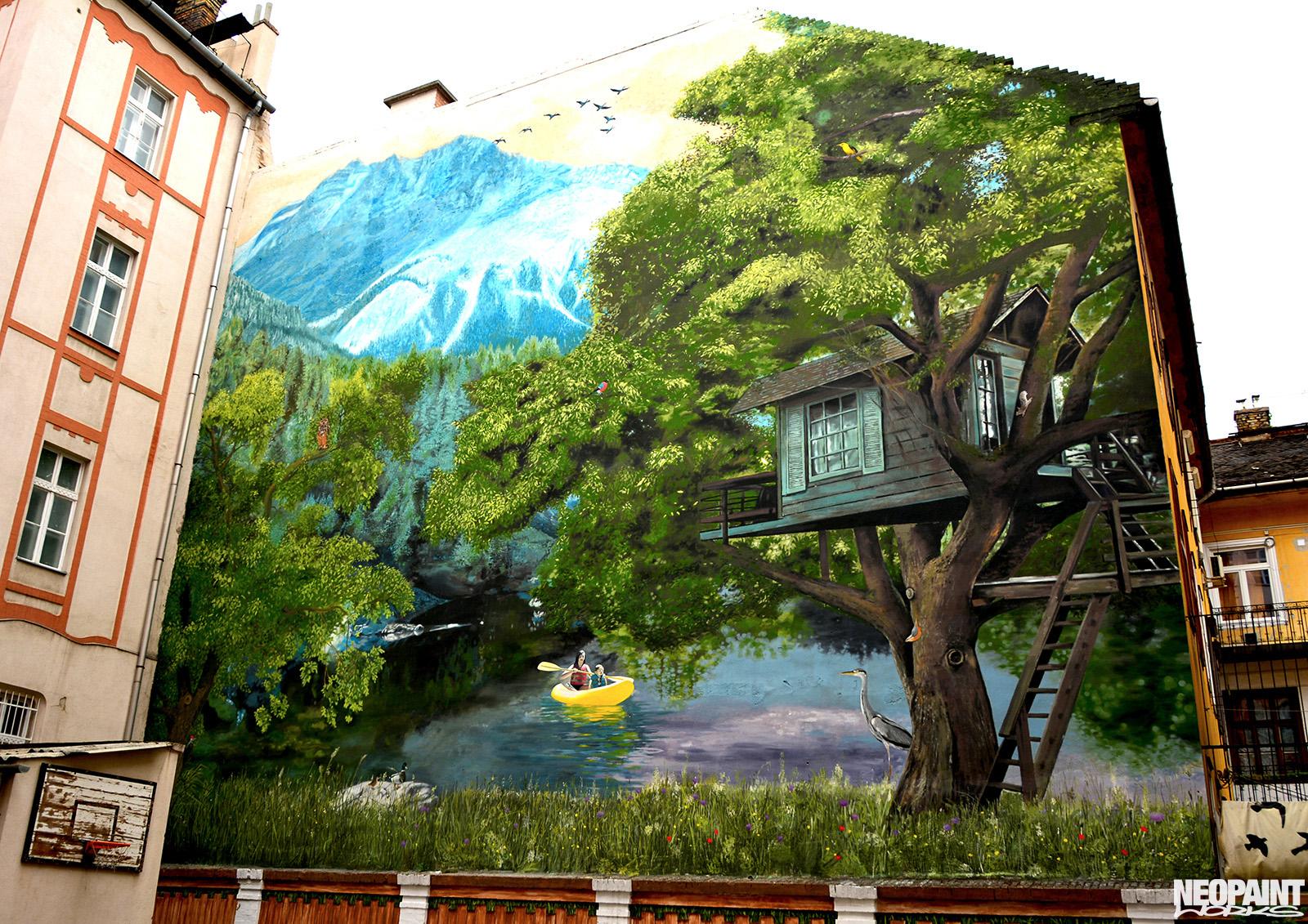 neopaint works - kreatív festés tűzfalon - dob utca iskola