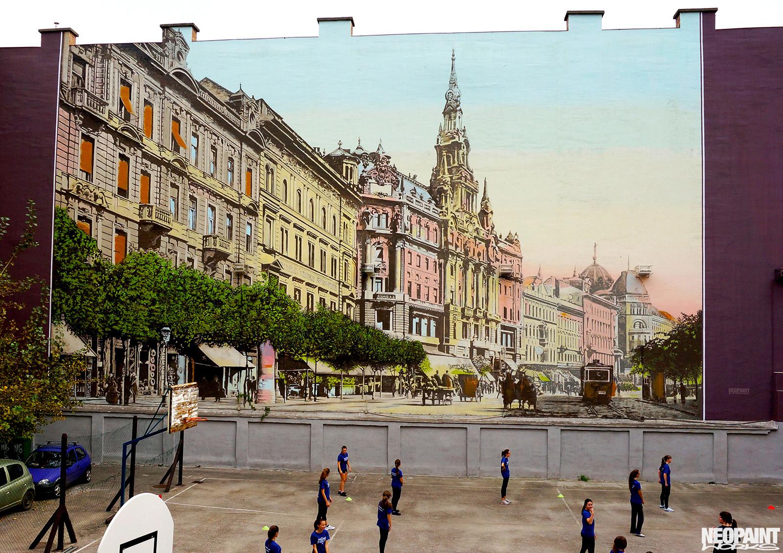neopaint works - nagy méretű tűzfal dekorációs festés