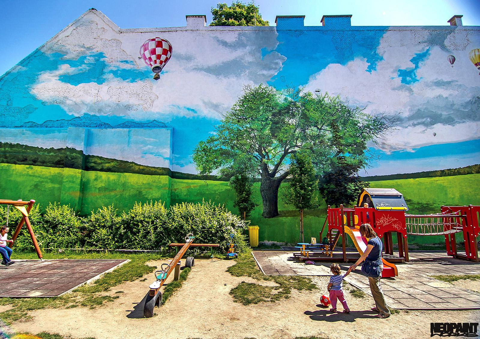 neopaint works - tájkép tűzfalra festve - király utca
