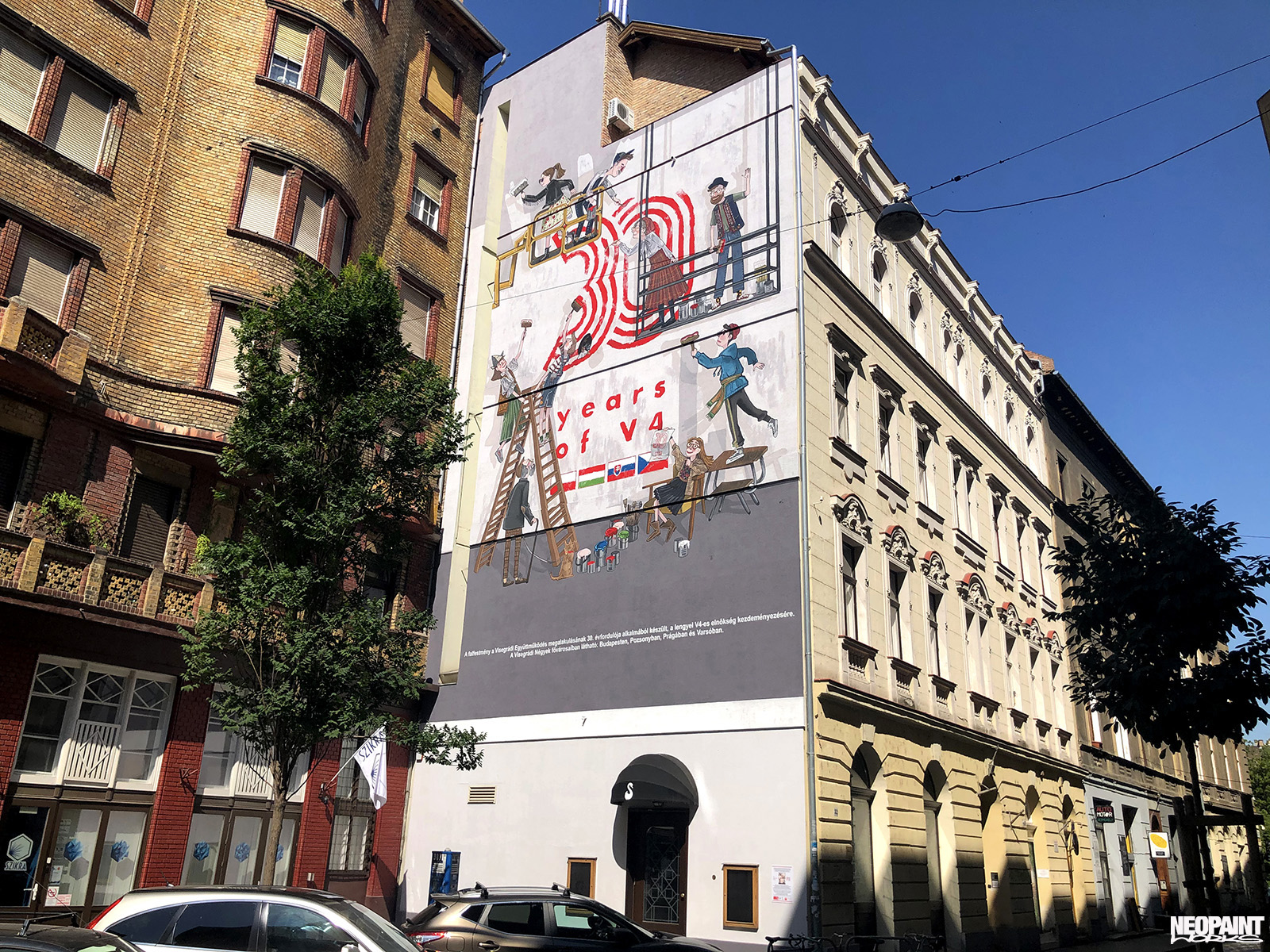 tűzfalfestés - tűzfalfestmény - köztéri falfestés - neopaint works - V4 - dekorfestés - budapest